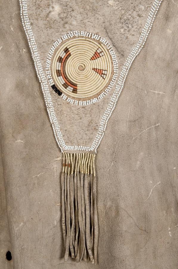 Man's Hide Shirt, Neck Flap Quill Rosette Detail, Nez Perce