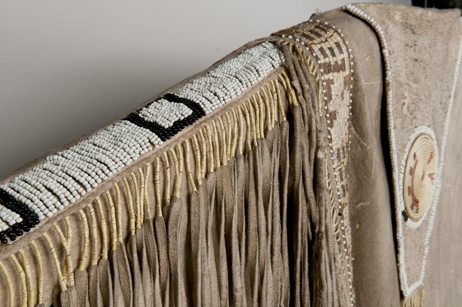Man's Hide Shirt, Yoke Detail, Nez Perce