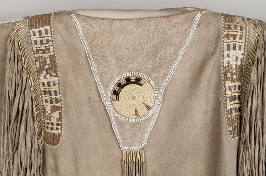 Man's Hide Shirt, Detail of Neck Flap and Shoulder Bead Quil Work, Nez Perce