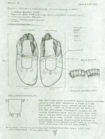 Drawing by Nakia Williamson of Bison Hide Moccasins in the Spalding-Allen Collection